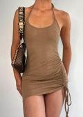 Halterneck Open Back Side Ruched Mini Bodycon Dress Beige