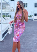 Halterneck Abstract Print Front Ruched Cut Out Midi Dress Purple
