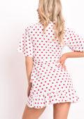 Heart Print Frill Wrap Front Mini Dress White