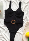 High Leg Ribbed Belted Cupped Swimsuit Black