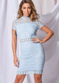 High Neck Crochet Lace Bodycon Dress Blue