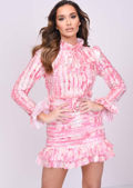 High Neck Frill Detail Long Sleeve Mini Dress Pink