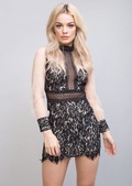 High Neck Mesh Lace Insert Bodycon Dress Black