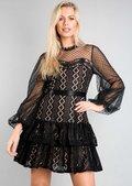 High Neck Mesh Lace Tiered Mini Dress Black