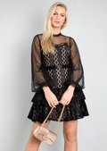 High Neck Mesh Lace Tiered Mini Dress Black