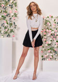 High Neck Tie Back Cropped T Shirt Top White