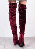 High Over The Knee Tie Back Boots Velvet Burgundy Red