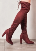 High Over The Knee Tie Back Faux Suede Boots Burgundy