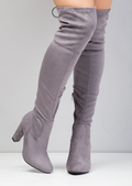 High Over The Knee Tie Back Faux Suede Boots Grey
