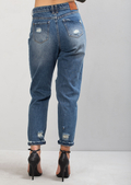 High Rise Knee Busted with Ripped Detail Mom Denim Jeans Vintage Blue
