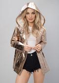 High Shine Rain Mac Festival Hooded Jacket Rose Gold