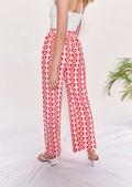High Waist Elasticated Heart Shape Patterned Straight Leg Pants Pink