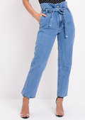 High Waisted Paperbag Denim Mom Jeans Blue