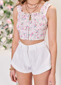 Floral Print Frilled Cupped Hook On Corset Crop Top Beige