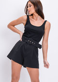 High Waisted Belted Tailored Shorts Black