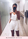 High Waisted Belted Tailored Shorts White