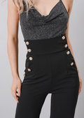 High Waisted Button Front Wide Leg Trousers Black