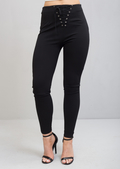 High Waisted Eyelet Detailed Lace Up Trousers Black