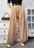 High Waisted Flared Wide Leg Palazzo Trousers Beige