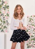 High Waisted Frill Layered Heart Print Mini Skirt Black