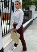 High Waisted Hook On Side Split Fitted Flared Trousers Brown