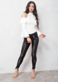 High Waisted Lace Up Leather Look Leggings Black