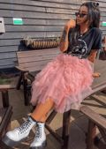 High Waisted Layered Tulle Ruffle Midi Skirt Pink