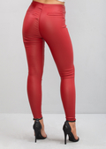 High Waisted Leather Look Trousers Red