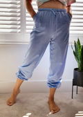 High Waisted Oversized Jogger Trousers Blue