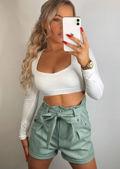 High Waisted Paperbag Pu Tie Waist Shorts Green