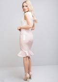 High Waisted Patent Fishtail Midi Skirt Pink