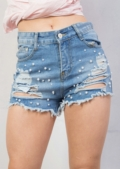 High Waisted Pearl Embellished Distressed Denim Shorts Light Blue