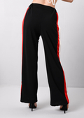 High Waisted Side Popper Panel Trousers Black