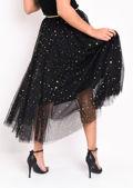 High Waisted Star Sequin Tulle Midaxi Skirt Black
