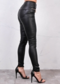 High Waisted Triple Button Jeans Leather Look Trousers Black