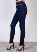 High Waisted Triple Button Skinny Trousers Jeans Indigo Blue