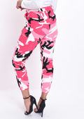 High Waisted Utility Cargo Trousers Camo Pink