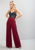 High Waisted Wide Leg Palazzo Trousers Burgundy Red