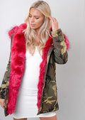 Hot Pink Faux Fur Hooded Parka Coat Camo Green