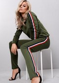 Jersey Side Stripe Loungewear Co Ord Set Tracksuit Khaki Green
