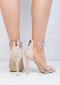Jewel Embellished Clear Strap Stiletto Barely There Heels Nude