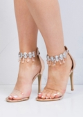 Jewel Embellished Clear Strap Stiletto Barely There Heels Rose Gold