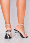 Jewel Embellished Perspex Clear Strap Stiletto Heels Black