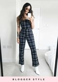 Check Print Wide Leg Pinafore Style Jumpsuit Multi