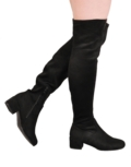 Over The Knee Flat Faux Suede Long Boots Black