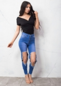 Knee Ripped Distressed Supper Skinny Jeans Blue