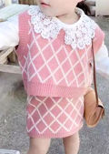 Knitted Harlequin Patterned Vest Top And Midi Skirt Co-Ord Set Pink