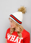 Knitted Pom Pom Green Red Stripe Beanie Hat White