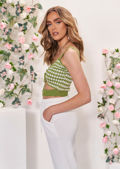 Knitted Sleeveless Checked Front Ruched Drawstring Crop Top Green