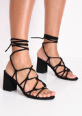 Knotted Strappy Block Heel Lace Up Sandals Black